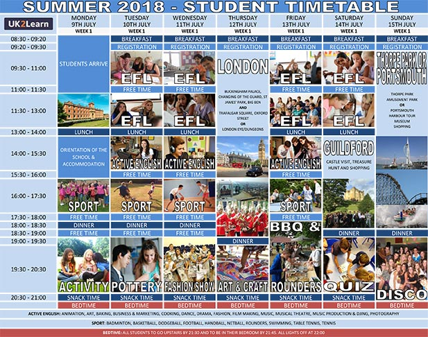 UK2Learn Summer timetable