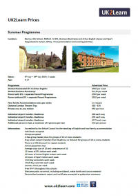Summer Programme Information Sheet