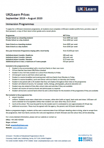 Immersion Programme fees